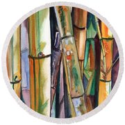 Round Beach Towel featuring the painting Bamboo Garden by Marionette Taboniar