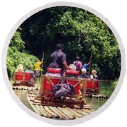 Round Beach Towel featuring the photograph Bamboo River Rafting by Melanie Lankford Photography