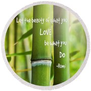 Rumi Quote Bamboo I Round Beach Towel by Marianne Campolongo