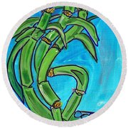 Bamboo Twist Round Beach Towel by Ecinja Art Works