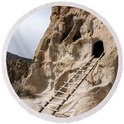 Bandelier Caveate - Bandelier National Monument New Mexico Round Beach Towel