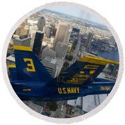 Banking Above Baltimore Round Beach Towel