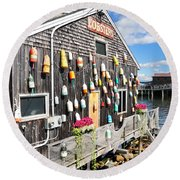 Bar Harbor Restaurant Round Beach Towel by Betty LaRue