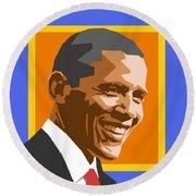 Barack Round Beach Towel by Douglas Simonson