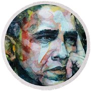 Round Beach Towel featuring the painting Barack by Laur Iduc