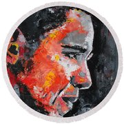 Barack Obama Round Beach Towel by Richard Day