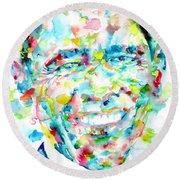 Barack Obama - Watercolor Portrait Round Beach Towel by Fabrizio Cassetta