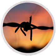 Round Beach Towel featuring the photograph Barbed Silhouette by Vicki Spindler