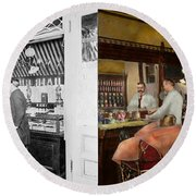 Barber - L.c. Wiseman Barbershop Ny 1895 - Side By Side Round Beach Towel