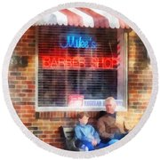 Barber - Neighborhood Barber Shop Round Beach Towel
