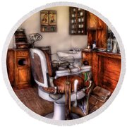 Barber - The Barber Chair Round Beach Towel