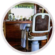 Barber - The Barber Shop Round Beach Towel by Paul Ward