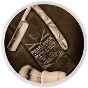 Barber - Tools For A Close Shave - Black And White Round Beach Towel by Paul Ward