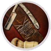 Barber - Tools For A Close Shave  Round Beach Towel by Paul Ward