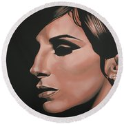 Barbra Streisand Round Beach Towel by Paul Meijering