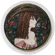 Barbra's Garden Round Beach Towel