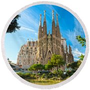 Barcelona - La Sagrada Familia Round Beach Towel by Luciano Mortula