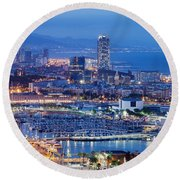 Barcelona Cityscape By Night Round Beach Towel