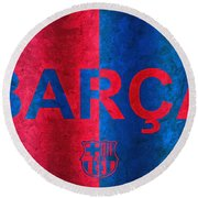 Barcelona Football Club Poster Round Beach Towel