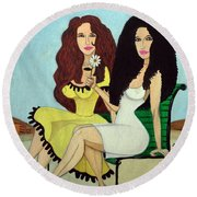 Barcelona Girls Round Beach Towel by Don Pedro De Gracia