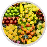 Round Beach Towel featuring the photograph Barcelona Market Fruit by Steven Sparks