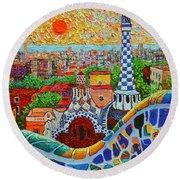 Barcelona Sunrise - Guell Park - Gaudi Tower Round Beach Towel by Ana Maria Edulescu