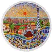 Barcelona Sunrise Light - View From Park Guell Of Gaudi - Square Format Round Beach Towel