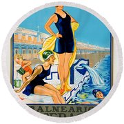 Barcelona Vintage Travel Poster Round Beach Towel