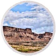Bardenas Desert Panorama 1 Round Beach Towel