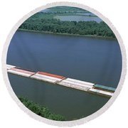 Barge In A River, Mississippi River Round Beach Towel