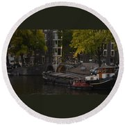 barges in Amsterdam Round Beach Towel