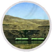 Barges On The Columbia Round Beach Towel