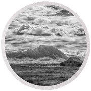 Barn And Bear Butte Round Beach Towel