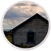 Round Beach Towel featuring the photograph Barn And Tractor by Matt Harang