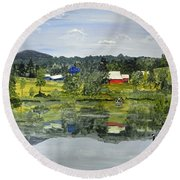 Barn At Little Elk Lake Round Beach Towel