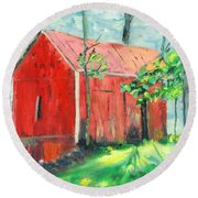 Barn At Walpack Round Beach Towel