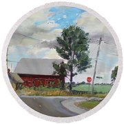 Barn By Lockport Rd Round Beach Towel