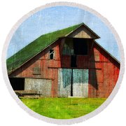 Barn - Central Illinois - Luther Fine Art Round Beach Towel
