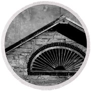 Barn Detail - Black And White Round Beach Towel