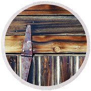 Barn Door Round Beach Towel