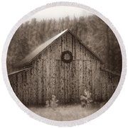First Snow In November Round Beach Towel