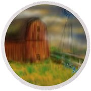 Round Beach Towel featuring the painting Barn by Marisela Mungia