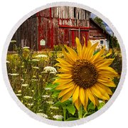 Barn Meadow Flowers Round Beach Towel