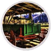 Round Beach Towel featuring the painting Barn by Muhie Kanawati