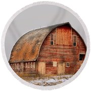 Barn On The Hill Round Beach Towel by Bonfire Photography