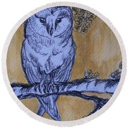 Round Beach Towel featuring the painting Barn Owl by Teresa White