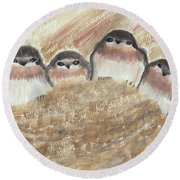 Barn Swallow Chicks Round Beach Towel