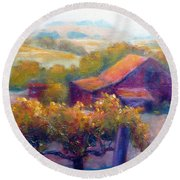 Barn Vineyard Round Beach Towel