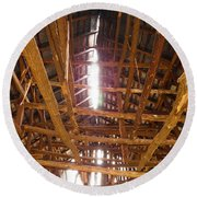 Round Beach Towel featuring the photograph Barn With A Skylight by Nick Kirby