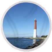 Barnegat Light - New Jersey Round Beach Towel by Christiane Schulze Art And Photography